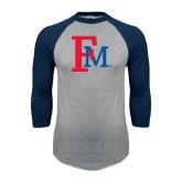 Grey/Navy Raglan Baseball T Shirt-Interlocking FM