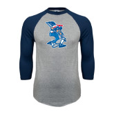 Grey/Navy Raglan Baseball T Shirt-The Patriot