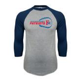 Grey/Navy Raglan Baseball T Shirt-Baseball on Right FM