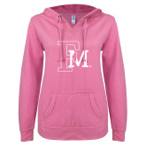 ENZA Ladies Hot Pink V Notch Raw Edge Fleece Hoodie-Interlocking FM