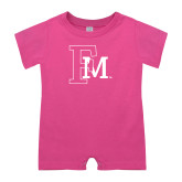 Bubble Gum Pink Infant Romper-Interlocking FM