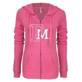 ENZA Ladies Hot Pink Light Weight Fleece Full Zip Hoodie-Interlocking FM