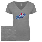 ENZA Ladies Graphite Melange V Neck Tee-Patriots Star
