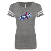 ENZA Ladies Dark Heather/White Vintage Triblend Football Tee-Patriots Star