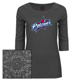Ladies Charcoal Heather Tri Blend Lace 3/4 Sleeve Tee-Patriots Star