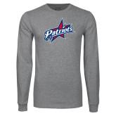 Grey Long Sleeve T Shirt-Patriots Star