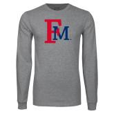 Grey Long Sleeve T Shirt-Interlocking FM