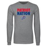 Grey Long Sleeve T Shirt-Patriot Nation