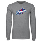 Grey Long Sleeve T Shirt-Patriots Star Distressed