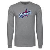 Grey Long Sleeve T Shirt-Patriots Star Distressed