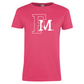 Ladies Fuchsia T Shirt-Interlocking FM