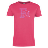 Ladies Fuchsia T Shirt-Interlocking FM Rhinestones