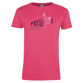 Ladies Fuchsia T Shirt-Patriots Star Foil