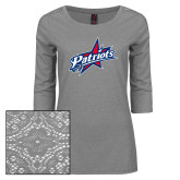 Ladies Grey Heather Tri Blend Lace 3/4 Sleeve Tee-Patriots Star