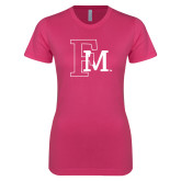 Ladies SoftStyle Junior Fitted Fuchsia Tee-Interlocking FM