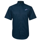 Navy Twill Button Down Short Sleeve-Patriots Star