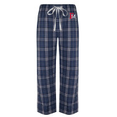 Navy/White Flannel Pajama Pant-Interlocking FM