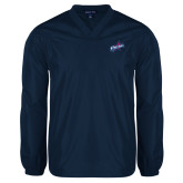 V Neck Navy Raglan Windshirt-Patriots Star