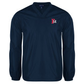 V Neck Navy Raglan Windshirt-Interlocking FM
