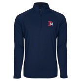 Sport Wick Stretch Navy 1/2 Zip Pullover-Interlocking FM