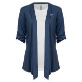 Ladies Navy Drape Front Cardigan-Patriots Star