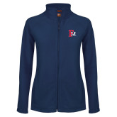 Ladies Fleece Full Zip Navy Jacket-Interlocking FM