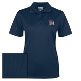 Ladies Navy Dry Mesh Polo-Interlocking FM