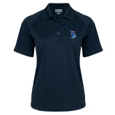 Ladies Navy Textured Saddle Shoulder Polo-The Patriot