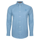 Mens Light Blue Oxford Long Sleeve Shirt-Interlocking FM