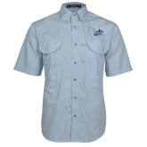 Light Blue Short Sleeve Performance Fishing Shirt-Patriots Star