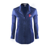 Ladies Red House Deep Blue Herringbone Non Iron Long Sleeve Shirt-Interlocking FM