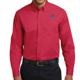 Red Twill Button Down Long Sleeve-The Patriot