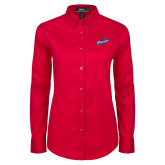 Ladies Red Twill Button Down Long Sleeve-Patriots Star