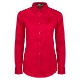 Ladies Red Twill Button Down Long Sleeve-Interlocking FM