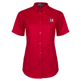 Ladies Red Twill Button Up Short Sleeve-Interlocking FM