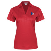 Ladies Red Performance Fine Jacquard Polo-Interlocking FM