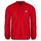V Neck Red Raglan Windshirt-Interlocking FM
