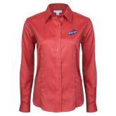 Ladies Red House Red Long Sleeve Shirt-Patriots Star