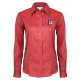 Ladies Red House Red Long Sleeve Shirt-Interlocking FM
