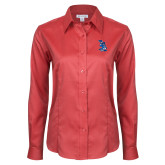 Ladies Red House Red Long Sleeve Shirt-The Patriot