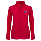 Ladies Fleece Full Zip Red Jacket-Patriots Star