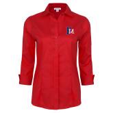 Ladies Red House Red 3/4 Sleeve Shirt-Interlocking FM