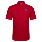 Red Textured Saddle Shoulder Polo-The Patriot