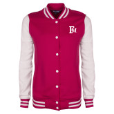 Ladies Pink Raspberry/White Fleece Letterman Jacket-Interlocking FM