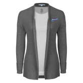 Ladies Heather Grey Open Front Cardigan-Patriots Star