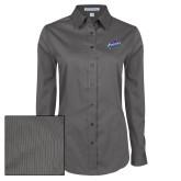 Ladies Grey Tonal Pattern Long Sleeve Shirt-Patriots Star