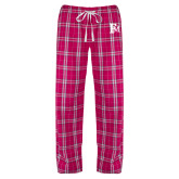 Ladies Dark Fuchsia/White Flannel Pajama Pant-Interlocking FM