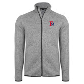 Grey Heather Fleece Jacket-Interlocking FM