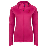 Ladies Tech Fleece Full Zip Hot Pink Hooded Jacket-Interlocking FM