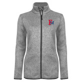 Grey Heather Ladies Fleece Jacket-Interlocking FM